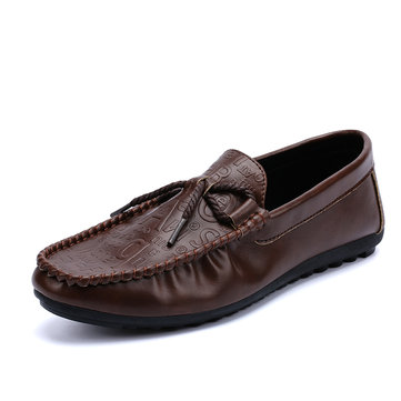 Men Casual Comfy Soft Sole Leather Flat Loafers Slip On Driving Shoes