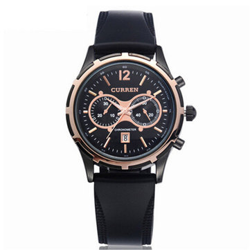 CURREN 8066 Casual Men Rubber Band Analog Quartz Wrist Watch