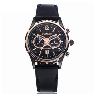 CURREN 8066 Casual Men Rubber Band Analog Quartz Wrist Watch