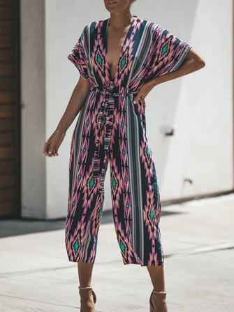 Women Short Sleeve V-neck Floral Boho Jumpsuit