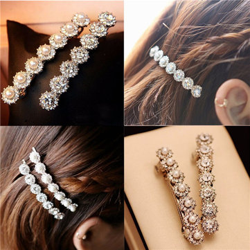 Pearl Rhinestone Hair Clip Barrette Headwear Hairpin Accessories