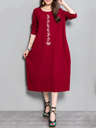 Plus Size Casual Women Embroidery Long Maxi Dresses
