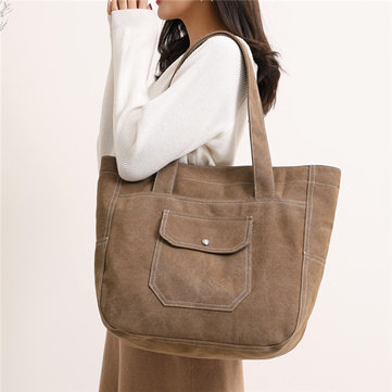 KVKY Women Canvas Tote Handbags Vintage Front Pockets Should