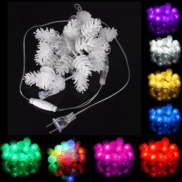 5M 20LED Pine Cone Fairy String Light Waterproof Christmas Outdoor Decor 110V