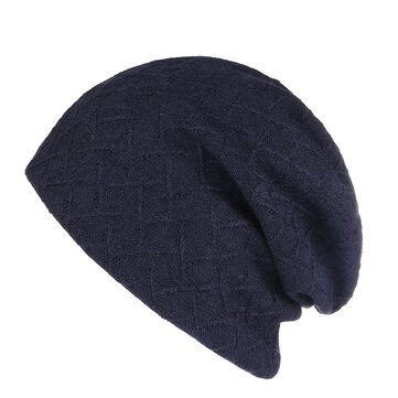 Mens Womens Vintage Cotton Double Layers Beanie Caps Plain Earmuffs Knitted Hat