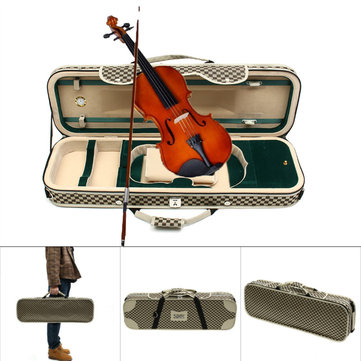 Deluxe 4/4 Acoustic Violin Fiddle Case With Hygrometer Oblong Shape Carry Case