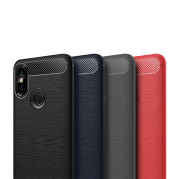 Mofi Carbon Fiber Shockproof Silicone Back Cover Protective Case for Xiaomi Redmi Note 6 Pro