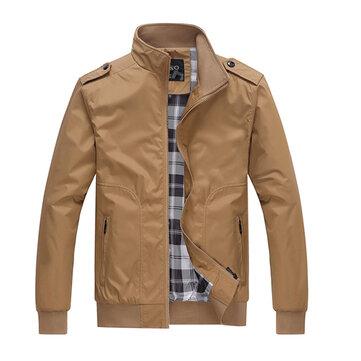 Casuais mens estande outono gola da jaqueta de nylon de cor sólida casaco bolso com zíper