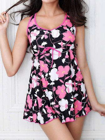 Stretch U Neck Printing Sleeveless Women Swimwear