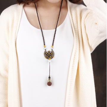 Ethnic Bodhi Rudraksha Pendant Necklaces Retro Alloy Jade