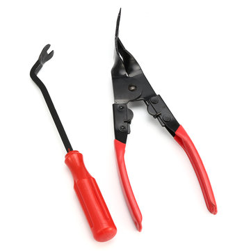 2Pcs Upholstery Remover Door Card Panel Trim Clip Removal Uphostery Pry Bar Pliers Tool Kit