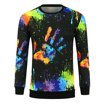 Mens 3D Printed Pattern Long-sleeved T-shirts Palm Graffiti Round Neck T-shirt Fashion Trend Hoodies