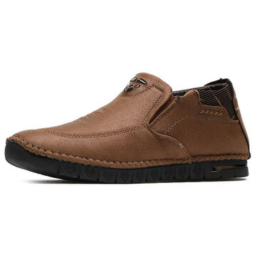 Men Casual Comfy Soft Sole Hand Stitching Microfiber Leather High Top Oxfords Shoes