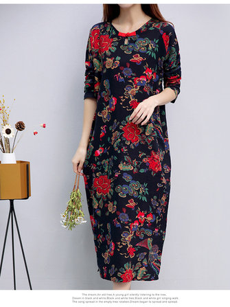 Retro Floral Pockets Cheongsam Dress for Women