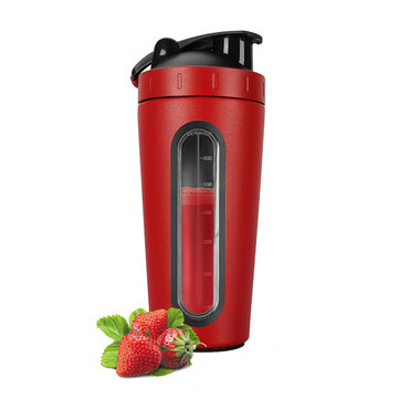 KCASA DT-200 700ML Large Capacity 304 Stainless Steel Transparent Scale Sport Water Albumen Powder Shaker Bottle