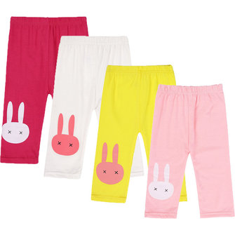 BEINGQ Girl Kids Summer Solid Cotton Blend Rabbit Stretch Short Leggings Pants