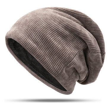 Men Women Double Layer Plus Velvet Hood Hat Baggy Pile Cap