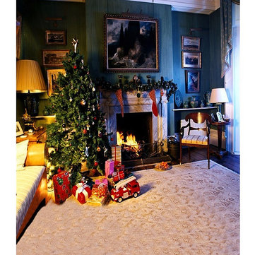 5x7FT Vinyl Christmas Tree Fireplace Bedroom Photography Backdrop Background Studio Prop