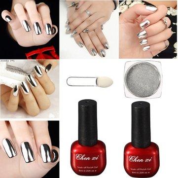 Silver Magic Mirror Powder UV Gel Top Coat Brush Set Glitter Dust Shimmer Chrome Additive Pigment