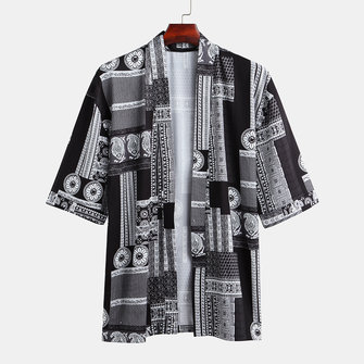 Mens Fashion Colorful Printed Loose Comfy Half Sleeve Casual Cardigans