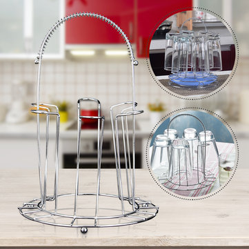 Round Stainless Steel Mug Glass Stand Drain Cup Holder Kitchen Storage Rack Hanging 6 Cups