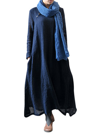 M-5XL Vintage Pure Color Long Sleeve O-Neck Maxi Dress