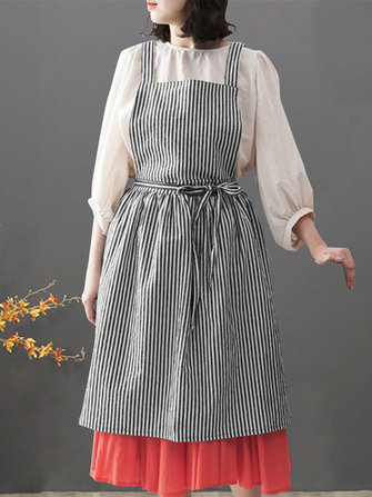 Women Japanese Style Stripe Back Cross Loose Pinafore Vintage Apron Dress