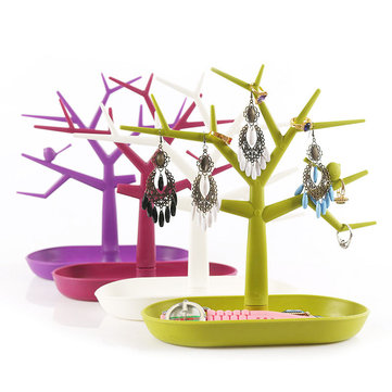 Colorful Bird Tree Jewelry Display Stand Plastic Bracelet Necklace Earring Ring Organizer Holder