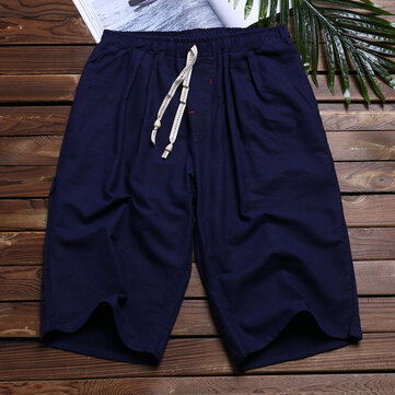 Linen Men's Summer Loose Knee-Length Drawstring Shorts