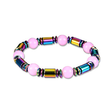 Elastic Pink Crystal Beaded Chain Black Magnet Stone Bracelet for Men Women