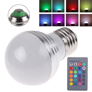 E27 3W RGB IR LED 16 Colors Change Light Lamp Bulb AC 85-265V