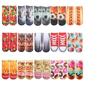 Unisex Men Women 3D Food Pattern Pringting Low Ankle Socks Harajuku Cute Hosiery