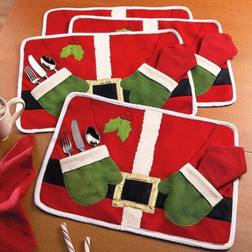 4 PCS Chritmas Xmas Santa Clua Table Placemat Cover Tableware Mats