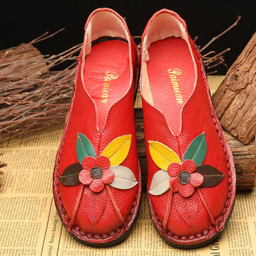 SOCOFY Retro Soft Sole Flower Flat Loafers