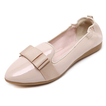 Women Foldable Ballet Flats Soft Sole Bowknot Slip-ons Solid-colored Loafers