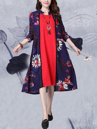 Vintage femmes fleur imprimé à coutures à manches longues col montant robe
