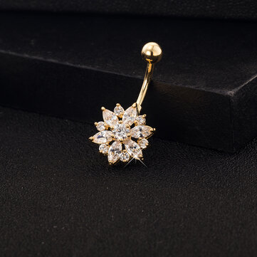 Elegant Rhonestone Belly Ring Flower Belly Navel Bar Ring