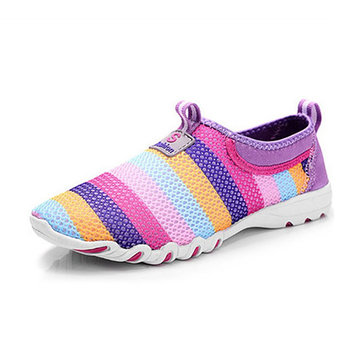 Large Size Women Casual Hollow Out Breathable Slip On Sneakers
