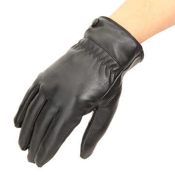 Motorcycle Driving Touch Screen Washed Leather Warm Gloves