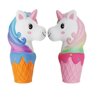 Oriker Squishy Jumbo 20cm Galaxy Rainbow Horse Animal Cup Slow Rising Scented Toy Gift With Pcaking