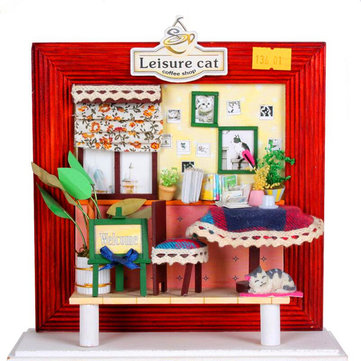Hoomeda DIY Handmade Leisure Cat Coffee Shop Kit Photo Frame Decorate Gift Christmas Birthday