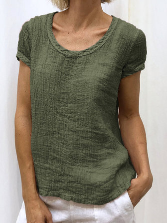 Women Solid Color Short Sleeve Round Neck Pleated Casual T-Shirts