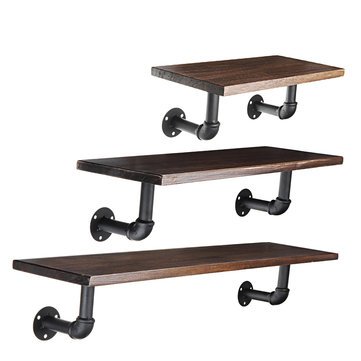 Retro Vintage Industrial Wood Metal Wall Shelf Display Floating Storage Pipe Rack