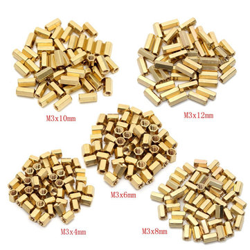 50pcs M3 Brass Female Threaded Hex Standoffs Spacer Nut 4/6/8/10/12mm