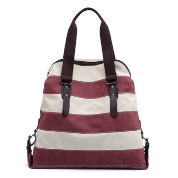 KVKY Women Striped Canvas Handbag Vintage Crossbody Bag