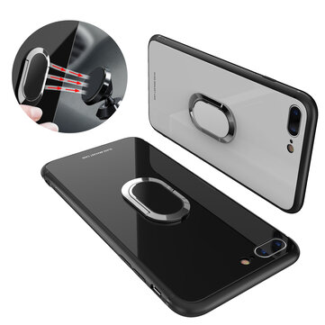 Bakeey 360° Rotation Ring Kickstand Magnetic Glass Protective Case for iPhone 7/7 Plus/8/8 Plus