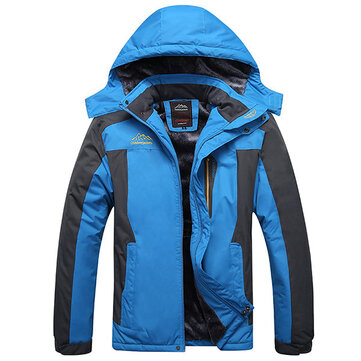 Mens Outdoor Waterproof Windproof Fleece Plus Thick Warm Mountaineering Jackets Big Size S-7XL