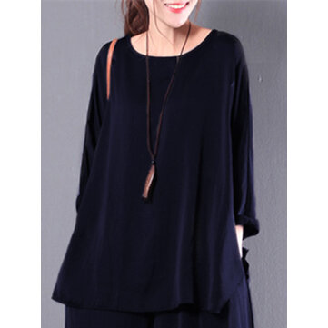 Women Casual Loose Crew Neck Baggy Retro Flounced Solid Blouse