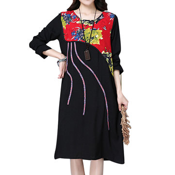 Ethnic Style Women Flower Printed Stitching Dress