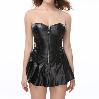 S-6XL Body Shaping Black Corset Set With Skirt